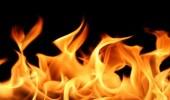 النيران تلتهم شاحنة ألبان في الموية