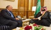 سمو ولي العهد يجتمع بوزير الخارجية المصري