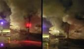 فيديو وصور| حريق ضخم يلتهم مستودعات بمجمع تجاري في صبيا
