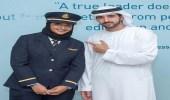 ولي عهد دبي ينشر صورته برفقة أول طيارة إماراتية