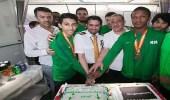 بالفيديو والصور.. شاهد كيف احتفلت الخطوط السعودية ببعثة الأخضر للكاراتيه