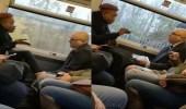 بالفيديو.. سيدة تثير غضب رجل بوضع قدميها على مقعده داخل القطار