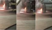 بالفيديو.. اللحظات الأولى لاشتعال النار في مكابح عجلات طائرة جدة