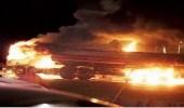 اشتعال حريق بمقدمة شاحنة بسبب ارتفاع حرارة المحرك