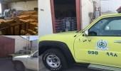 بالصور.. مدني بريدة يغلق عدة مستودعات لمخالفة اشتراطات السلامة