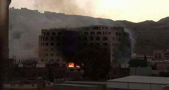 احتراق بنك الأمل في شارع بغداد بصنعاء من قبل الحوثيين
