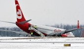 انزلاق طائرة على أرض مطار لوجان الدولي
