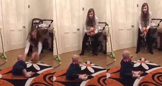 بالفيديو.. فتاة تنقذ شقيقتها الصغرى من الوقوع في آخر لحظة