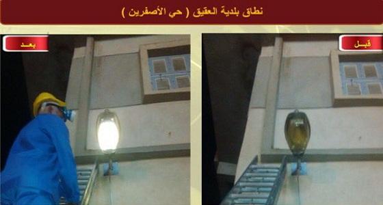 أمانة المدينة تنفذ أعمال الصيانة بحي الأصفرين وطريق الأمير سلطان