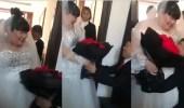 بالفيديو.. عريس يتعرض لموقف محرج بسبب عروسه البدينة