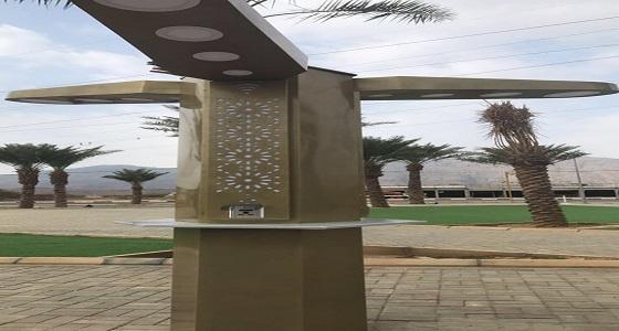 بالصور.. تركيب أعمدة ذكية بحديقة مبنى بلدية بارق