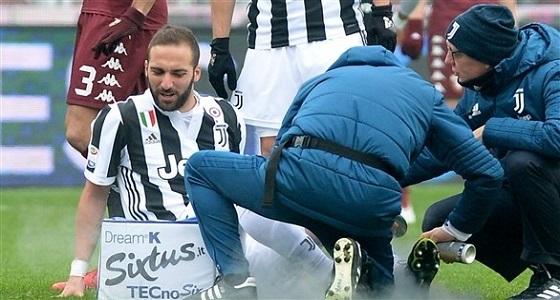 هيغواين يتعرض لإصابة قوية في الدقائق الأولى من مباراة يوفنتوس