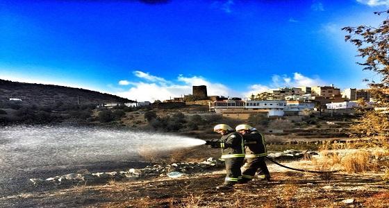 9 فرق من الدفاع المدني للسيطرة على حريق قرية الهتافره بالباحة