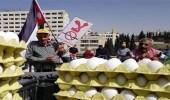 بالفيديو.. مزارعو الأردن يحتجون بالأبقار والدجاج والبيض أمام البرلمان