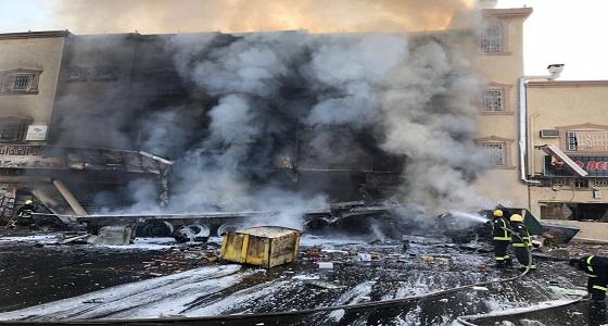 مصرع وإصابة 5 أشخاص إثرحريق بمحلات تجارية في نجران