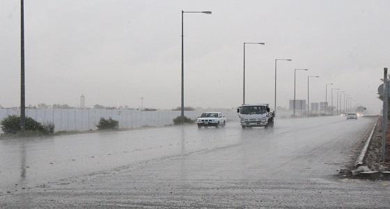 """هطول أمطار غزيرة على طريقي """" السيل وينبع """""""