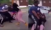بالفيديو.. إمرأة بدينة تعتدي على فتاتين بالضرب المبرح