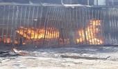 بالصور.. مدني الخبر يخمد حريقا اندلع بمنجرة أخشاب في صناعية الثقبة