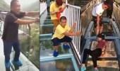 بالفيديو.. ردود أفعال طريفة لأشخاص فوق جسر زجاجي