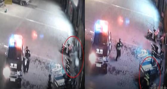 بالفيديو.. ضابط ينقذ سيدة سقطت من شرفة مسكنها بطريقة مذهلة