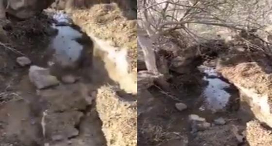 بالفيديو.. السيول تغطي شمال غرب خميس مشيط