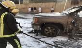 """"""" مدني ألمع """" يخمد حريقًا اندلع بسيارة في القرية التراثية"""