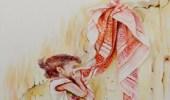 بالصور.. رسام يوثق قصة طفلة فقدت والدها في تفجير بالرياض بلوحة معبرة