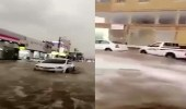 بالفيديو.. شوارع عفيف تتحول إلى أودية