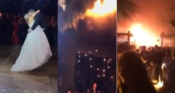 بالفيديو.. حريق هائل يفاجئ عروسين أثناء رقصهما ويخرب حفل الزفاف
