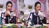 بالفيديو.. موقف محرج لمذيعة تأكل فسيخ وبصل على الهواء