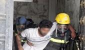 بالصور.. إنقاذ رجل وابنه من حريق اندلع بمنزل في الطائف