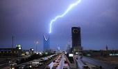 هطول أمطار رعدية غزيرة على الرياض