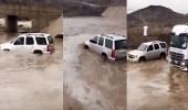 بالفيديو.. سائق متهور ينجو من الموت في سيل متدفق