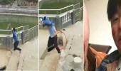 بالفيديو.. قرد غاضب ينتقم من شاب دفعه في بركة مياه