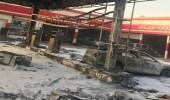بالصور.. اندلاع حريق هائل في محطة وقود بالرياض