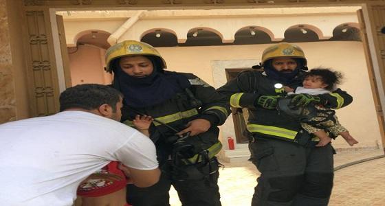 بالصور.. إصابة 6 أشخاص إثر حريق في منزل بالأحساء