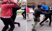 بالفيديو.. مشاجرة عنيفة بين فتاتين ورد فعل صادم للمارة