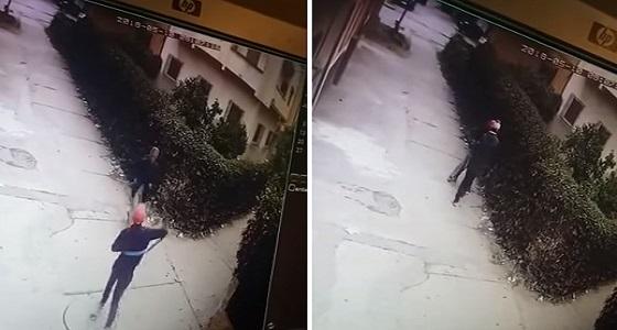 بالفيديو.. لحظة اعتداء لص على رجل بساطور لسرقته