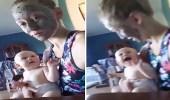 بالفيديو.. رد فعل صادم لطفل وضعت والدته ماسك على وجهها