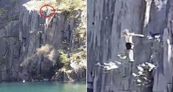 بالفيديو.. نجاة شخص بأعجوبة رغم انهيار الصخور عليه أثناء السباحة