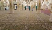 شؤون المسجد النبوي تجدد سجاد الروضة الشريفة
