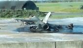 """بالصور.. خطأ عامل يتسبب في انفجار طائرتي """" إف 16 """" خلال استعدادهما لمهمة"""