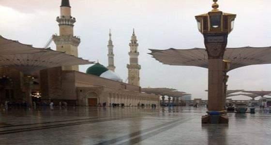 بالفيديو.. زوار المسجد النبوي يبتهلون إلى الله بالدعاء وسط الأمطار