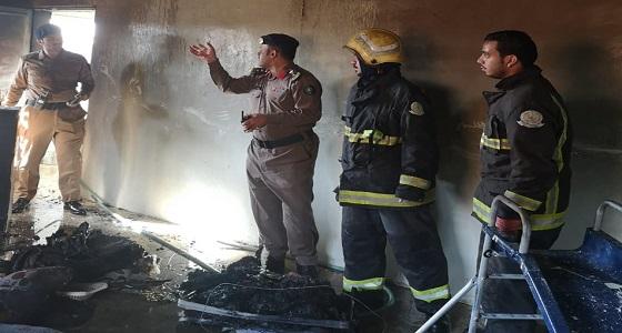 بالصور.. إصابة شخصين إثر حريق في منزل بحفر الباطن