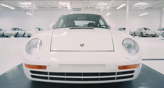 بالفيديو .. أجمل مجموعة من سيارات بورشة البيضاء في مكان واحد