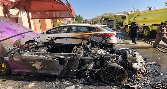 بالفيديو والصور.. رجل يحرق سيارة فارهة بجدة متنكرا في زي نسائي