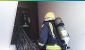بالصور.. إخلاء مبنى بالقطيف بعد اندلاع حريق