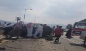 بالصور.. إصابتين في حادث تصادم مروع بالعرضيات