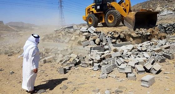بالصور.. إزالة تعديات على حرم جامعة أم القرى
