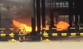بالفيديو.. لحظة اشتعال نيران الهجوم الإرهابي على محطة نفط الدوادمي